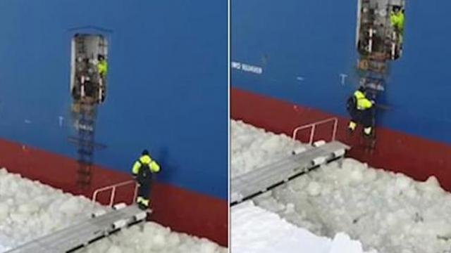 Sailor finds ingenious way to climb on to ship which shows no sign of stopping for him
