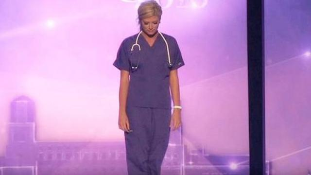 Beauty contestant baffles audience only to put on scrubs and come clean about her nursing job