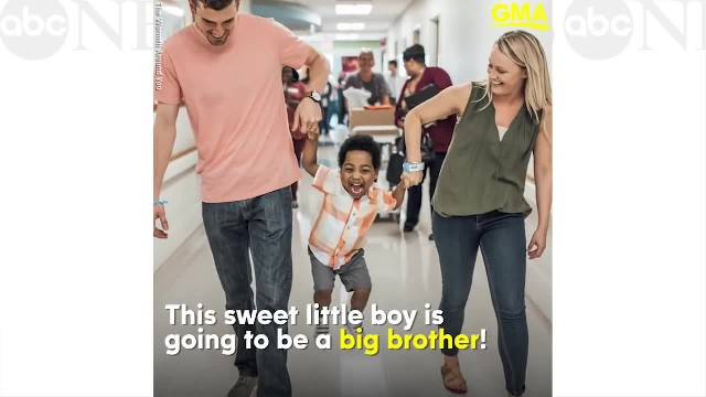 Boy reveals he's going to be a big brother on the same day he's adopted