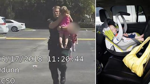 Cop spots little girl trapped in hot car. His dashcam captures the dramatic rescue
