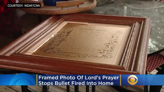 Framed Photo Of Lord's Prayer Stops Bullet Fired Into Home