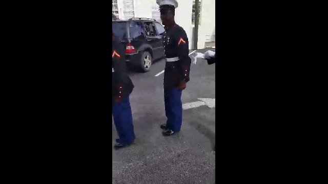 Mom of deployed marines can barely contain herself when they march towards her office