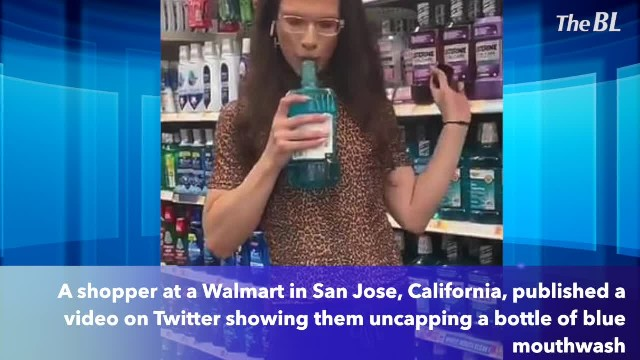 Walmart shopper films themself gargling mouthwash, spitting it back into a Listerine bottle, and put