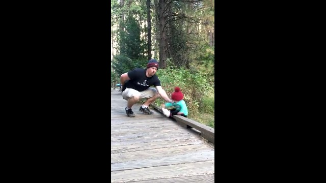 Daddy And Baby Girl Stand At Bridge Edge Mom's Captured Footage When Baby Falls Goes Viral