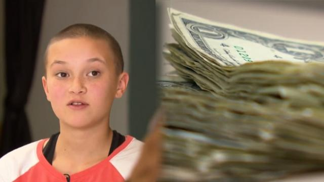 Teen girl shaves head in front of whole school and is baffled when they start bringing her money
