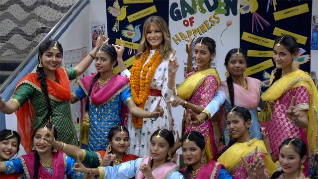 First Lady Melania Trump visits the Sarvodayav school in New Delhi, India