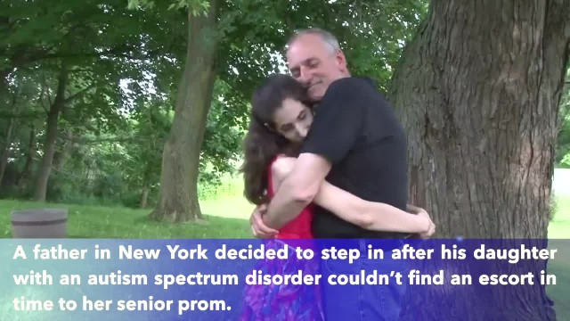 Dad escorts his 17-year-old daughter with autism to the first senior prom for both of them