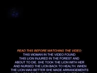 Lion starts crying and gives huge hug to woman who saved him!