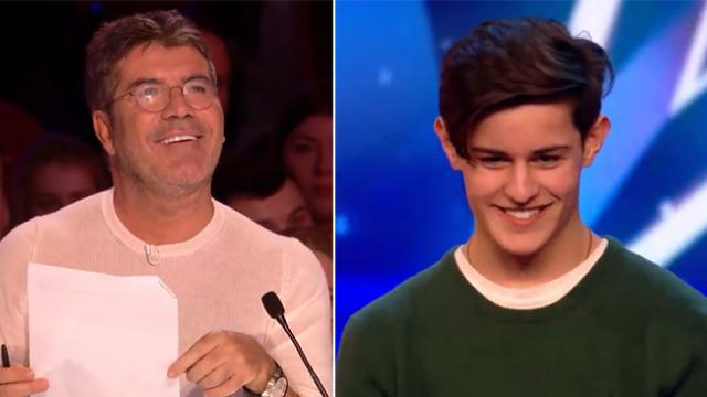 Teen steps on stage to sing then Simon asks him to look at the seat next to his mom
