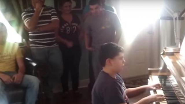 "Boy plays ""America The Beautiful"" to honor his brother overseas, doesn't see him just steps away"