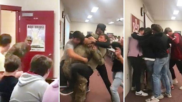 High school students flip out when coach walks through door upon return home from deployment