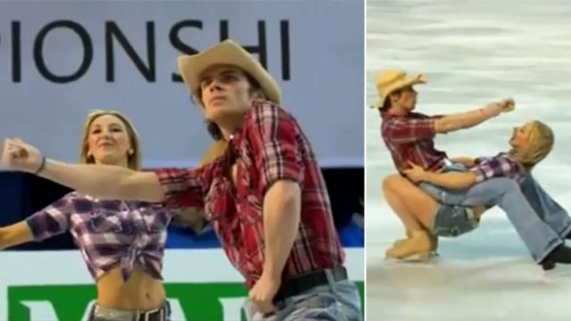 Cowboy and cowgirl 'line dance' on skates with moves that have audience swooning