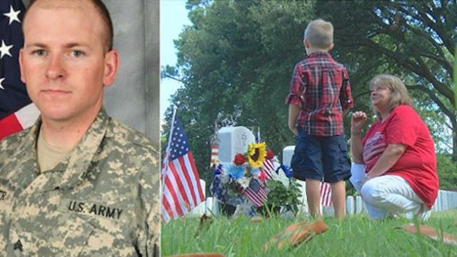 Mom visits soldier son's grave to grieve only to be met with the boy who's been showing up there