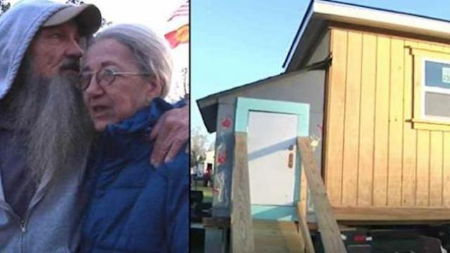 Veteran and wife sleep in freezing cold, left in tears when kids tell them house is theirs