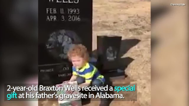Boy finds Christmas gifts on father's grave after his death