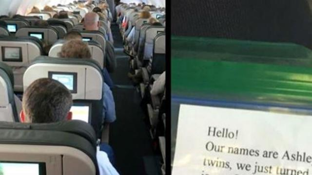 Woman sitting near twin babies on plane is stunned when parents begin handing out unusual bags