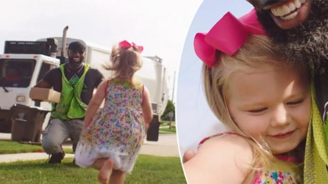 Little girl gives garbage man a birthday cupcake, 6 months later it's his turn to surprise her