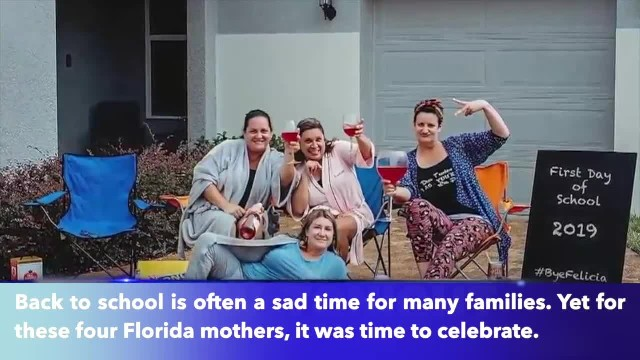 Florida mothers celebrate first day of school with wine and donuts
