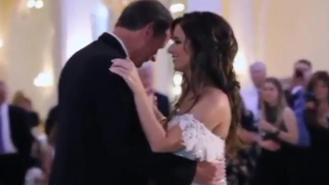 Tiny voice suddenly interrupts father-daughter dance at wedding. Dad immediately falls apart