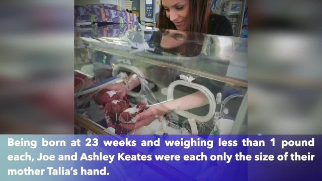 World's smallest twin boys defy the odds after being born at 23 weeks weighing less then 1 pound eac