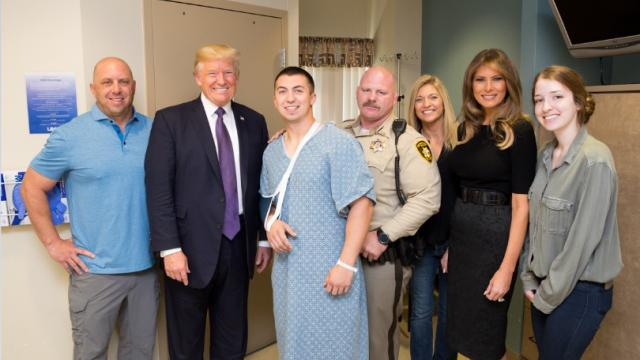 President Trump and First Lady meets with Las Vegas victims