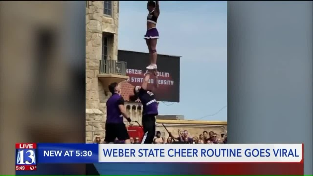 Two cheerleaders nail 'most difficult' routine at stunt championship, leave 600,000 people floored