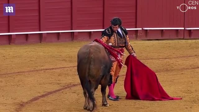 Spanish matador wpes away tears of bull before killing it
