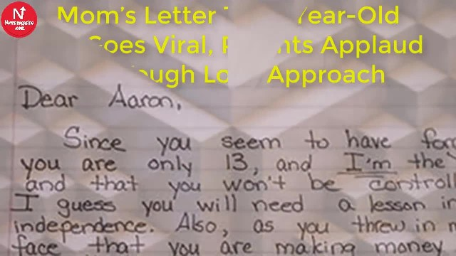 Mom's Letter To 13-Year-Old Son Goes Viral, Parents Applaud Her Tough Love Approach