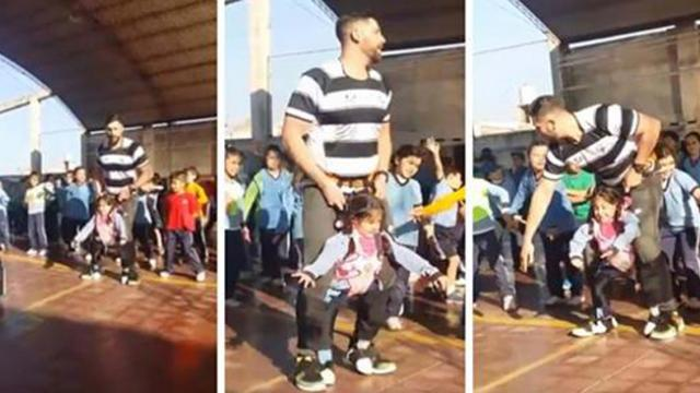 Teacher builds a belt so disabled student can dance
