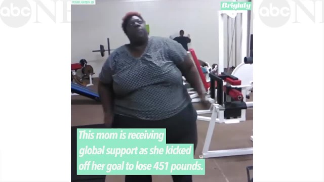 Mom's viral workout video inspires millions as she vows to lose 451 pounds