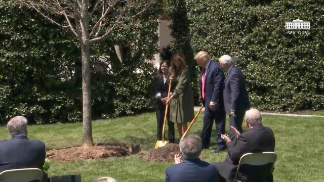 President Trump and First Lady Participates in a tree planting ceremony