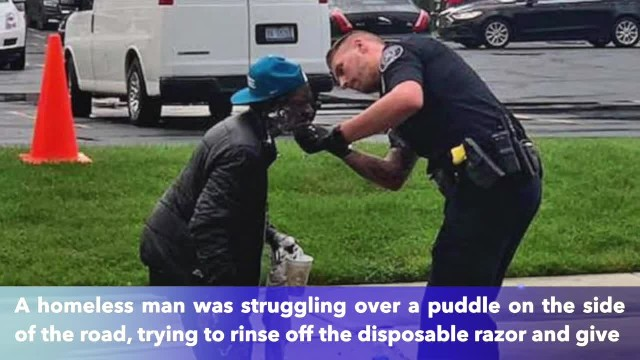 Detroit Police officer helps homeless man struggling to shave