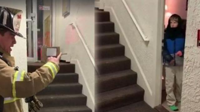 Mother records sweet moment firefighter communicates with son using sign language