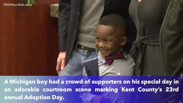 Michigan boy invites his entire kindergarten class to heartwarming adoption hearing