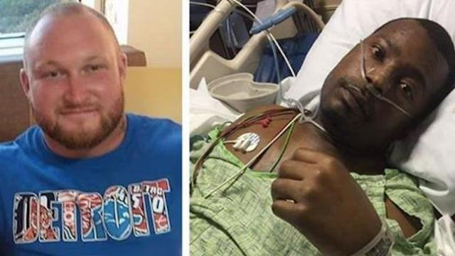 Powerlifter hears cries from car wreck and rushes to rescue man
