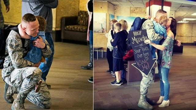 Clueless baby girl at airport holds sign she can't read, moments later airman dad walks over