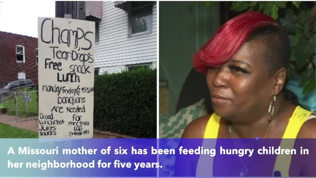 Mother of six makes lunches for hungry children in her neighborhood who knock on her door