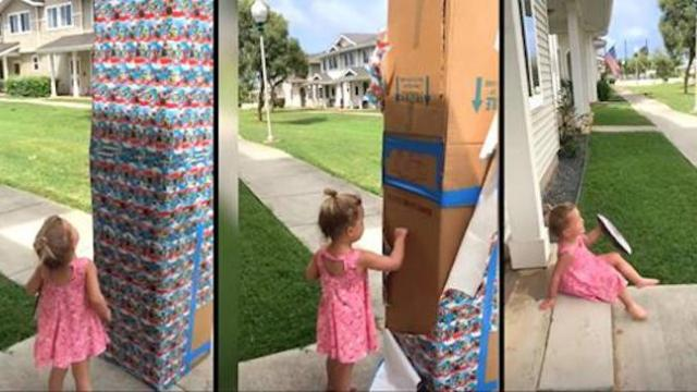 "Dad sends baby girl giant box of ""cookies"" suddenly toppling backwards when it starts to move"