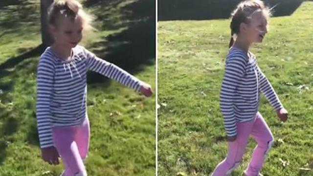 Watch tear-jerking moment little girl with cerebral palsy walks on her own