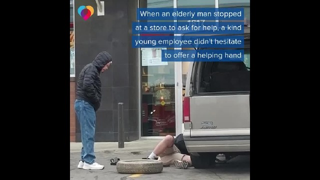 Man Fixes 91-Year-Old Man's Flat Tire, Then Girlfriend Alerts Him Of His New Internet Popularity