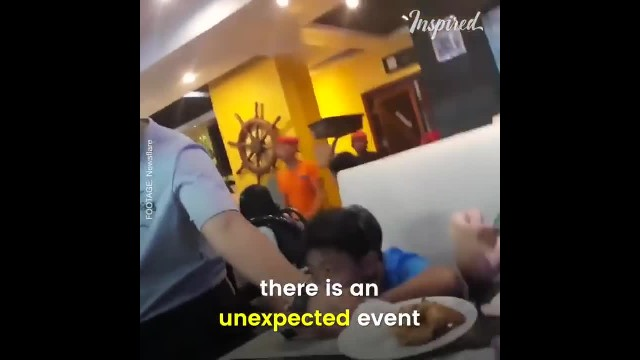 Dad disguises himself as a waiter and serves his kids