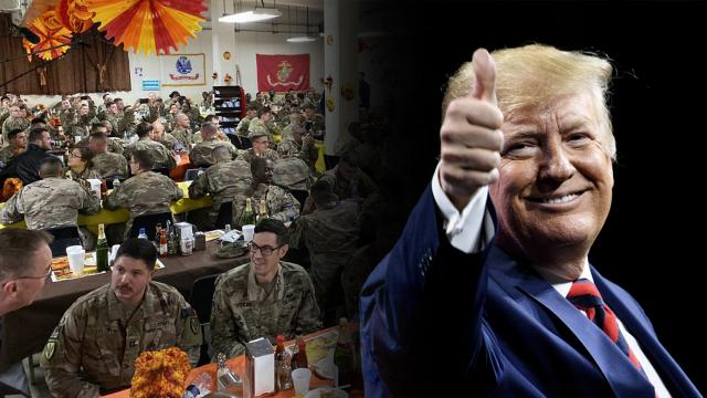 Trump is back from spending a GREAT Thanksgiving with our Courageous U.S. Warriors in Afghanistan!