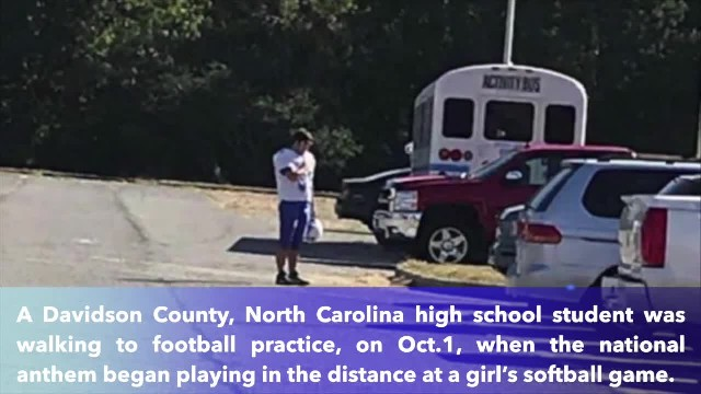 North Carolina teen stops to honor national anthem while walking to football practice