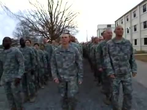 Soldiers line up to march but can't keep straight faces when drill sergeant shouts orders