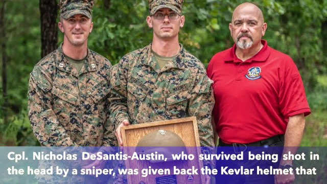 Marine shot in the head in Afghanistan got back the Kevlar helmet that saved his life