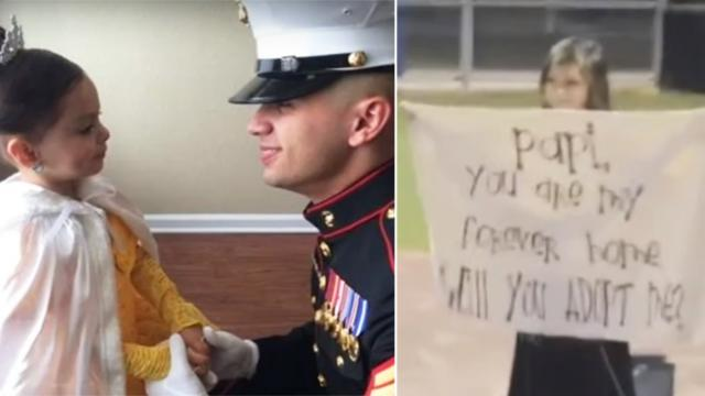 Eight-year-old girl blindsides Marine with stunt that makes him break down sobbing
