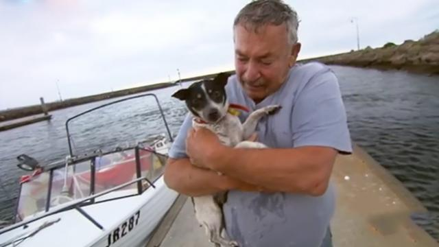 Fisherman saw his beloved dog go overboard. When his boat was brought back, he broke down in tears