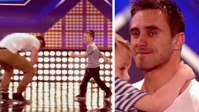 Hunky dad loses custody of his son and cries when he runs onstage after thrilling audition