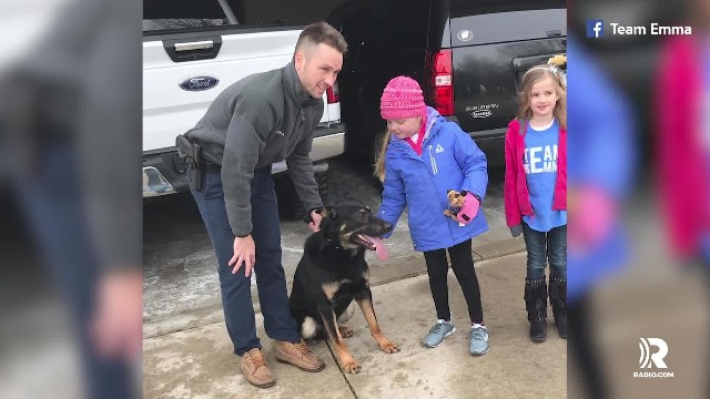 Terminally ill little girl who loves dogs visited by K-9 officers from nearly 40 departments