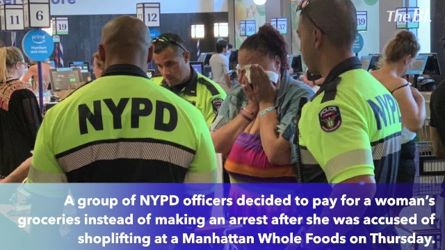 NYPD cops buy food for woman accused of shoplifting, leave her in tears